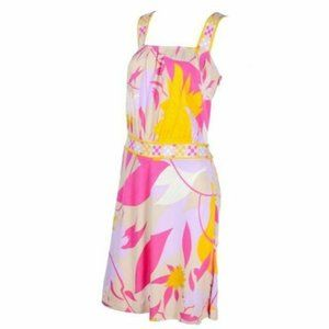 Emilio Pucci Womens 4 Small Pink Yellow Leaf Dress